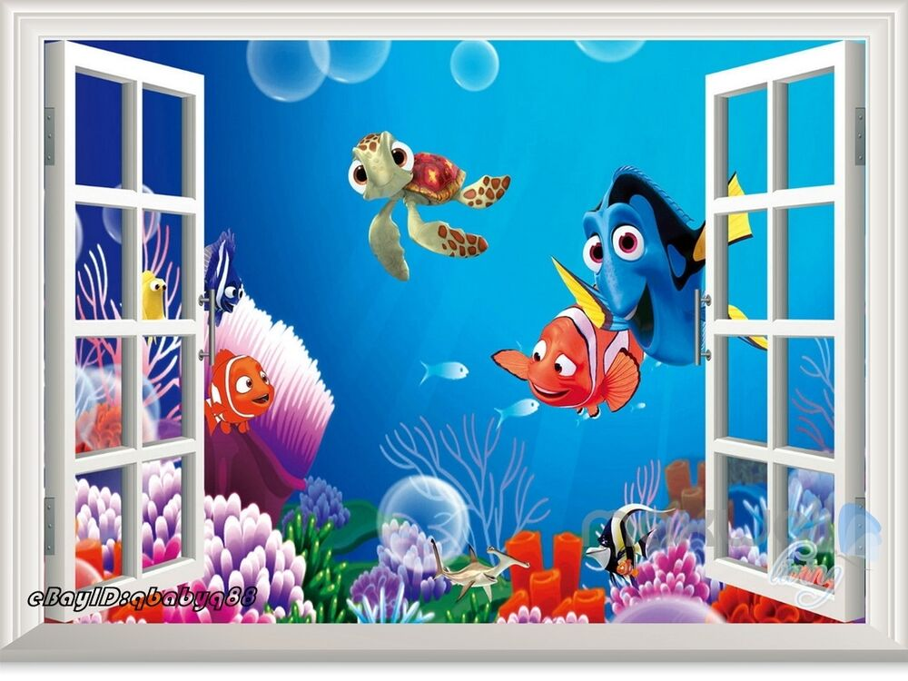 Finding nemo dory fish 3d window removable wall decal kids for Finding dory wall decals
