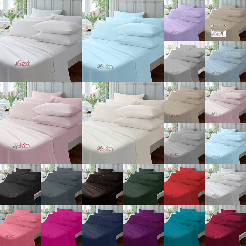 extra deep fitted percale single double king super king sheets size 16 40cm ebay. Black Bedroom Furniture Sets. Home Design Ideas