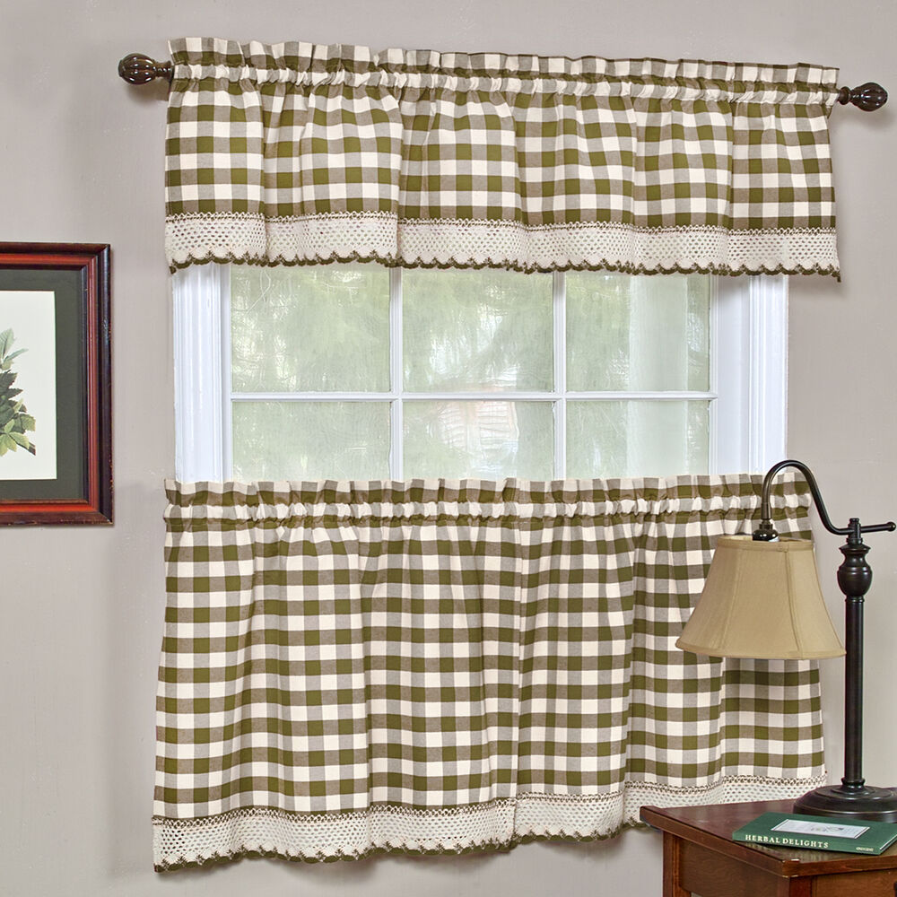 Kitchen Curtains And Valances: Buffalo Check Taupe Gingham Kitchen Curtain Window