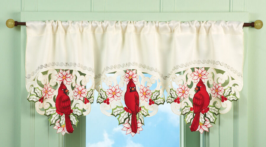 """Embroidered Scalloped 40""""x16"""""""" Lacey Cardinal Bird Blossoms Window ..."""