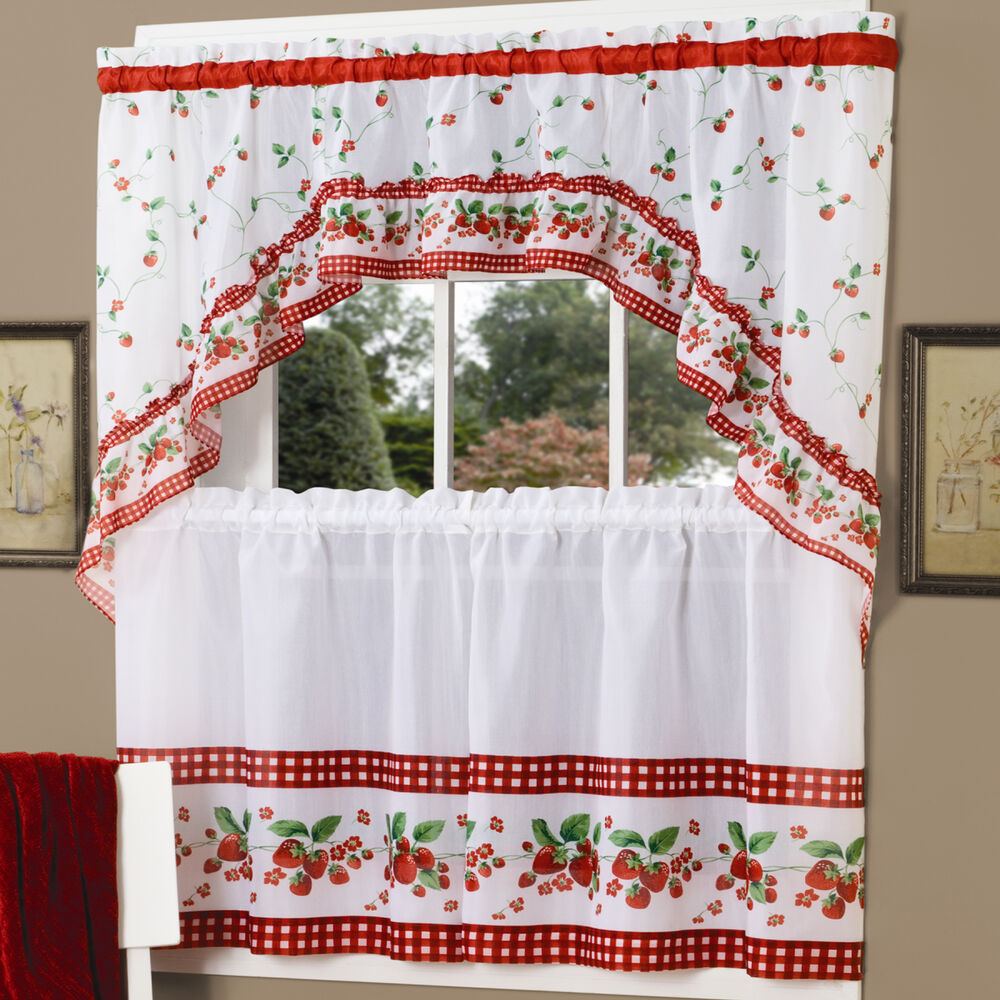 "Strawberry Vine Red White Kitchen Curtain 36"" Tier Pair & 30"" Swag Set"
