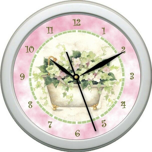 personalized tub time 2 bathroom decor wall clock gift