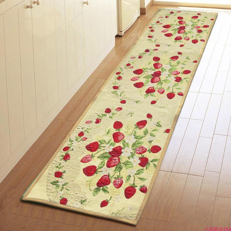 Red Strawberry Home Kitchen Floor Mat Rug Fiber Indoor