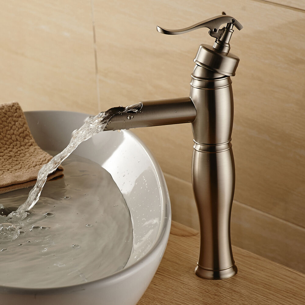 Bathroom Sink Faucets: Tall Bathroom Vessel Sink Faucet Single Lever Waterfall Mixer Tap Brushed Nickel
