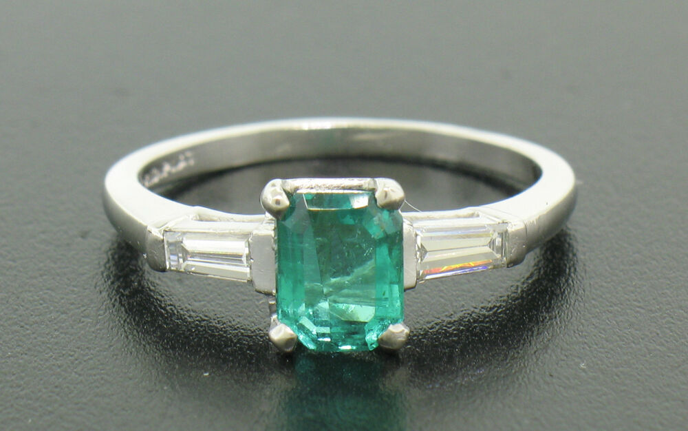 Estate Platinum 1 24ctw Emerald Solitaire & Baguette Diamond Engagement R
