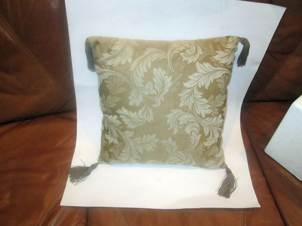 Decorative Pillows With Tassels : Decorative Pillow Brown and Gold embossed w/leaf pattern, tassels eBay