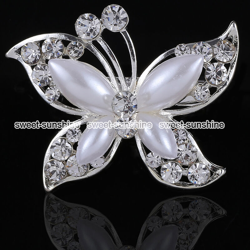 Wedding Cake Decorations Diamante : BUTTERFLY BROOCH DIAMANTE BROACH VINTAGE WEDDING CAKE ...