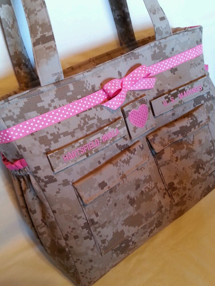 Handmade marines diaper bag embroidery desert or woodland
