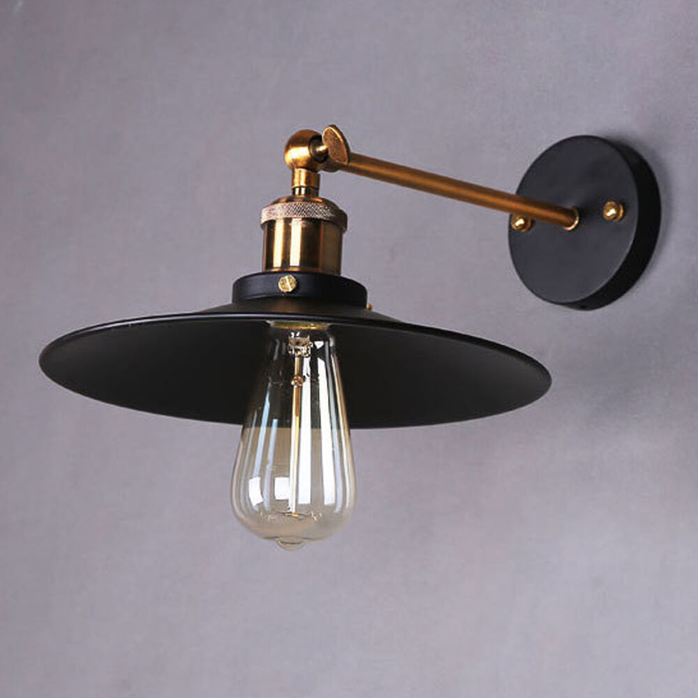 Wall Pendant Light: Retro Industrial Rustic Metal Wall Mount Sconce Lamp