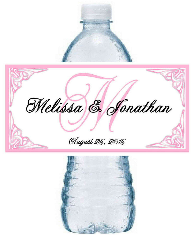 100 personalized pink monogram wedding water bottle labels for Custom waterproof labels for water bottles