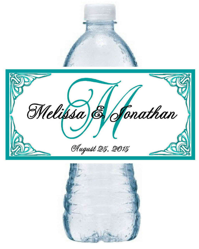 100 teal monogram wedding water bottle labels waterproof ink ebay