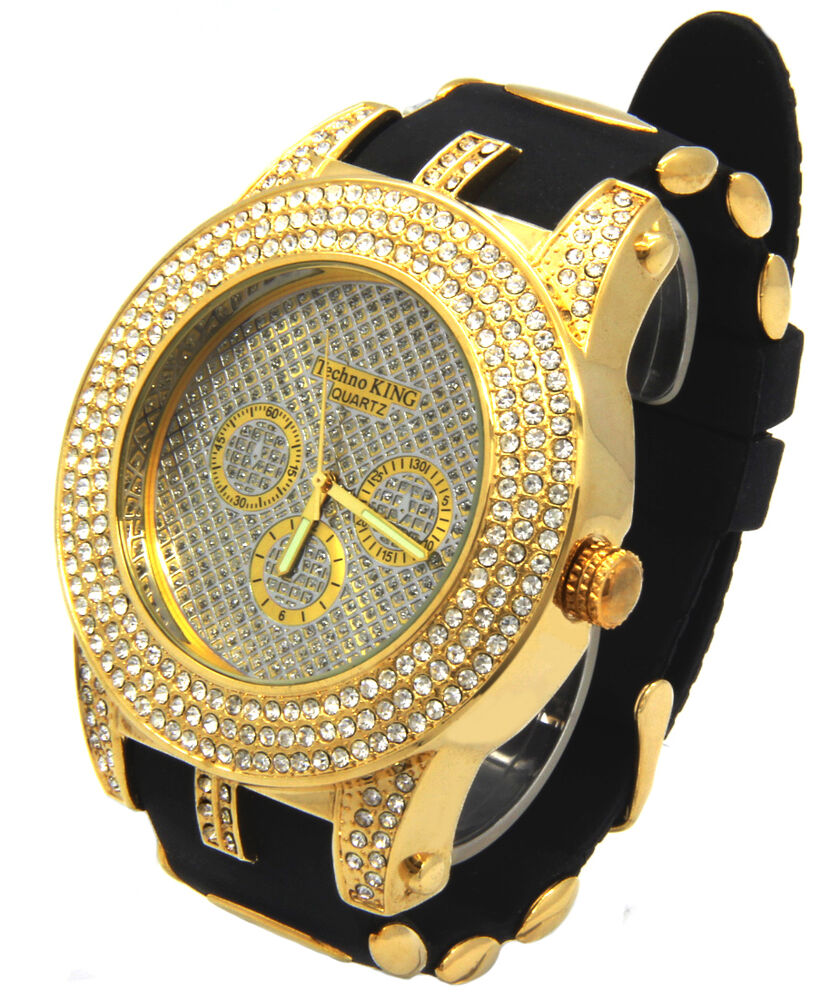 mens gold cz iced out bling techno quartz hip hop
