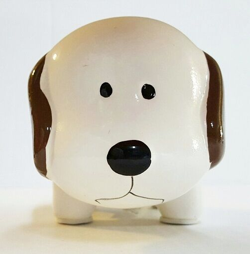 White w brown mini ceramic dog piggy bank large slot for Mini piggy banks