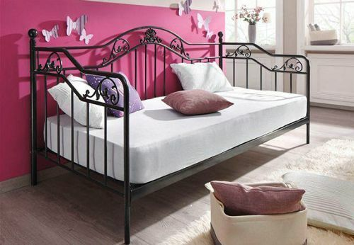 daybed inkl lattenrost metallbett bett bettgestell metall tagesbett 90 x 200 cm ebay. Black Bedroom Furniture Sets. Home Design Ideas