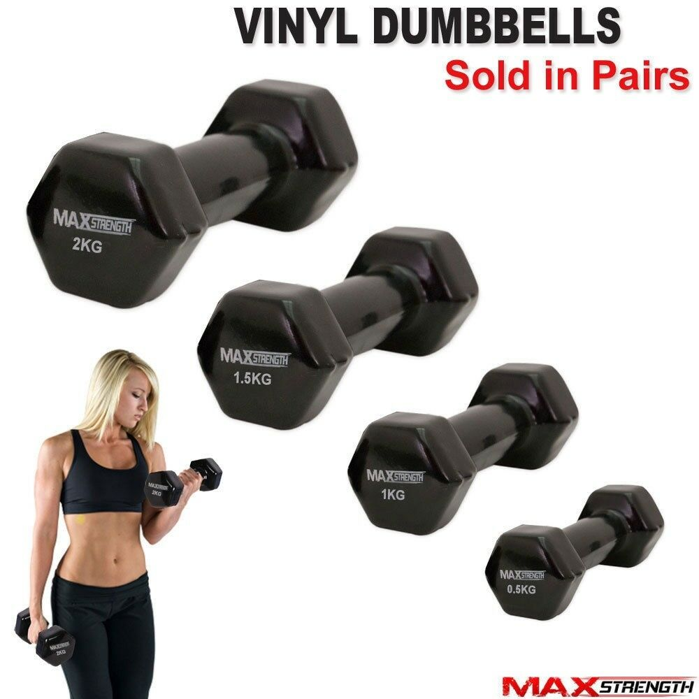 Free Weights Strength Training: Fitness Hand Free Weights Vinyl Coated Dumbbells Gym