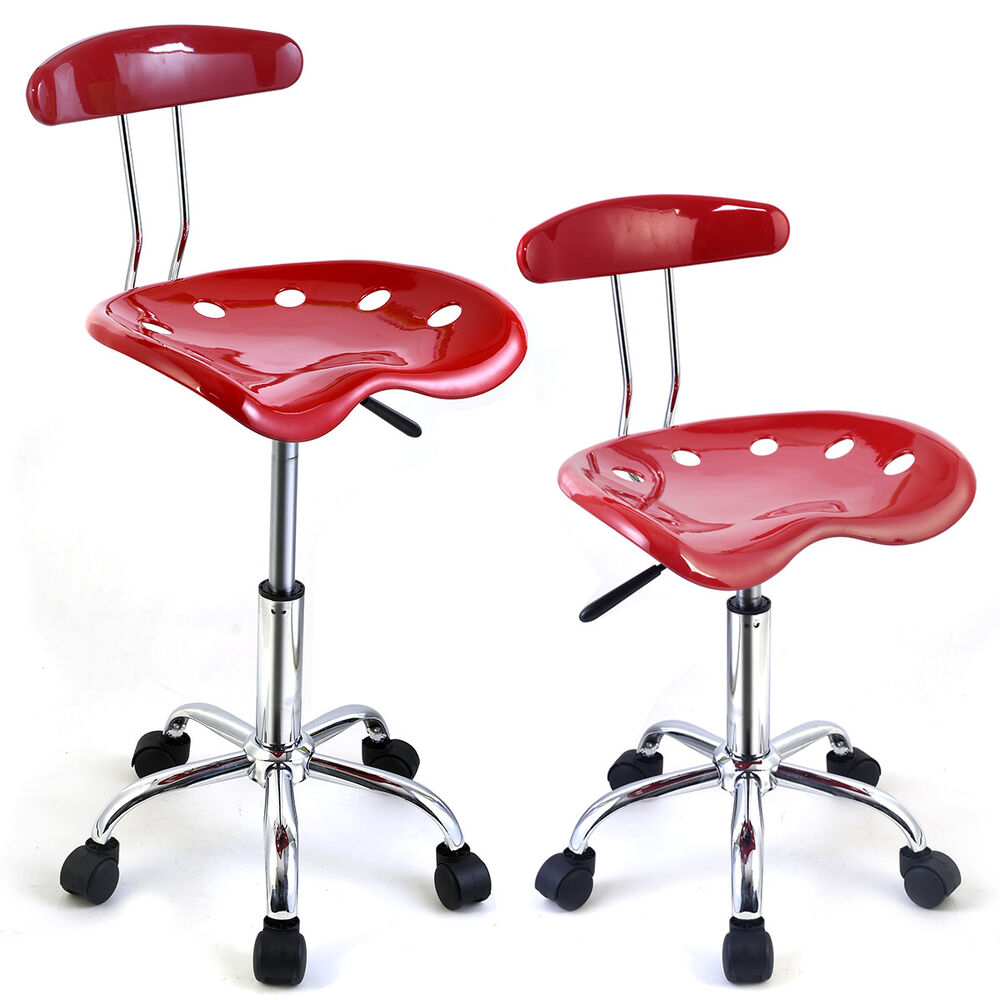 2pc Adjustable Bar Stools Abs Tractor Seat Swivel Chrome