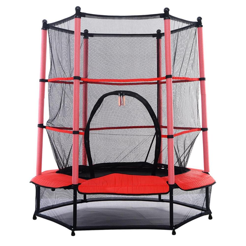 "NEW! 55"" Kids Trampoline With Safety Net Enclosure & Red"