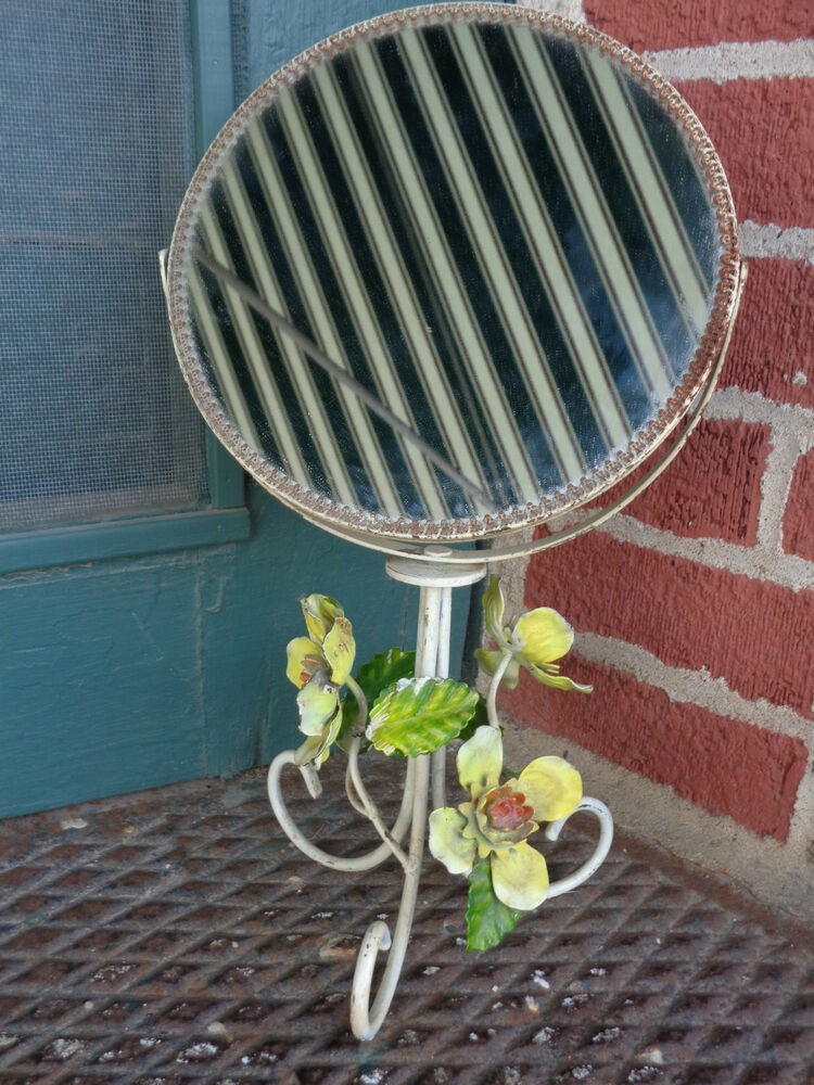 Vintage Tole Hand Painted Metal Floral Bouidoir Shabby