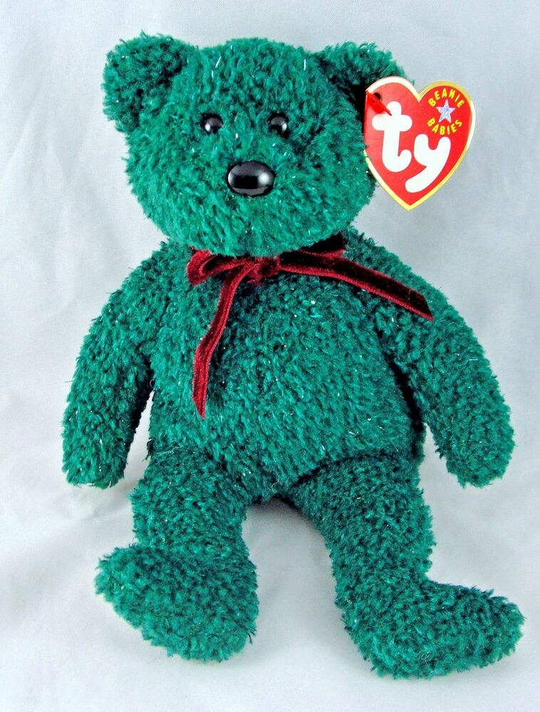 Ty Beanie Baby 2001 Holiday Teddy Bear 8 Quot Green Plush Mwt