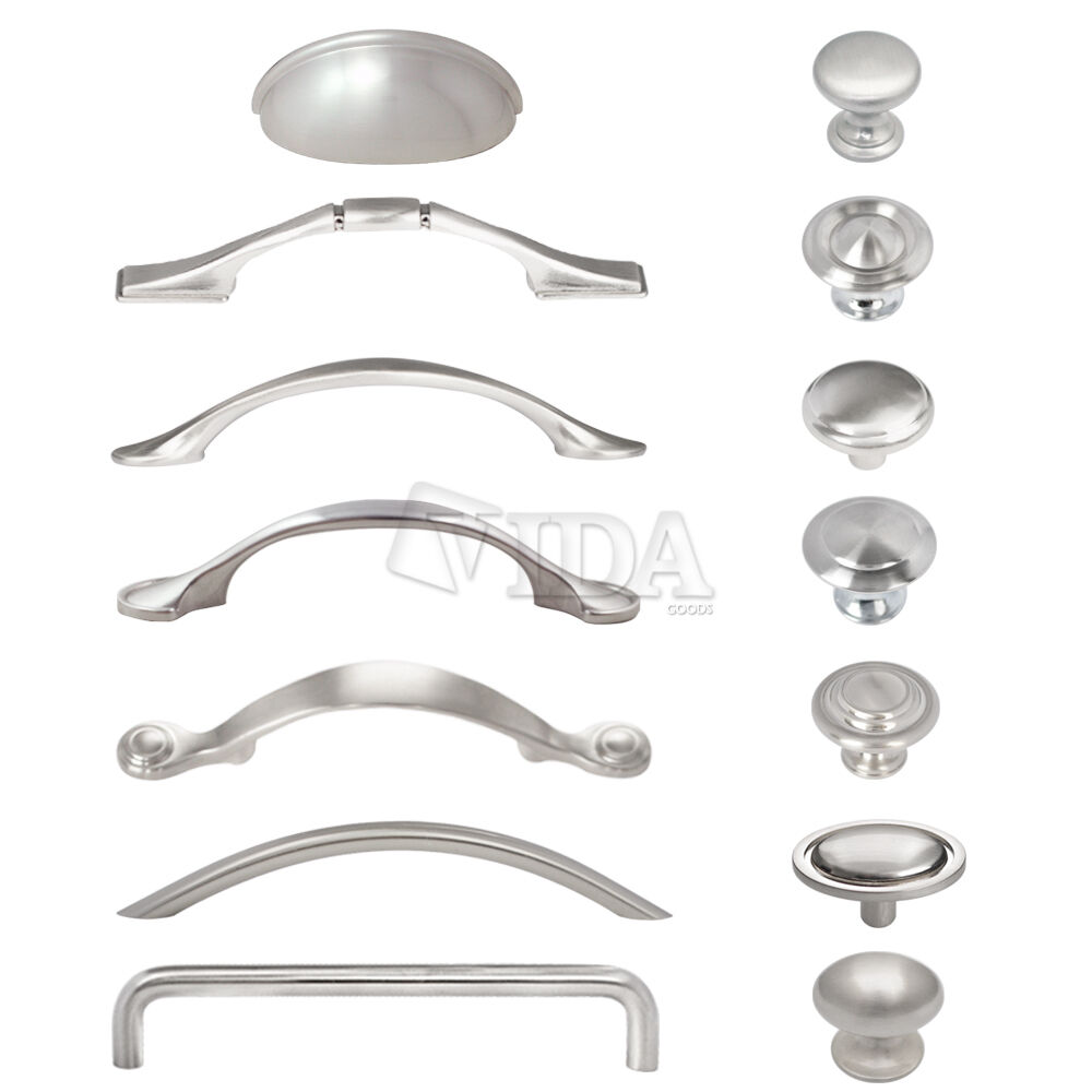 Satin Nickel Brushed Nickel Kitchen Cabinet Drawer Pull Handles Knobs Hardware Ebay