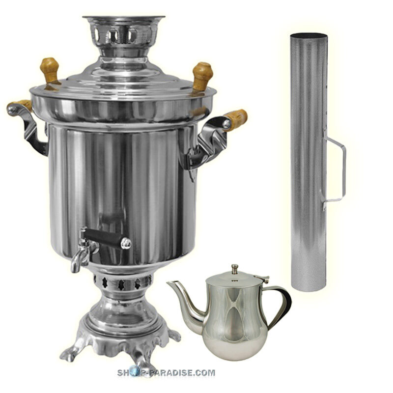 samowar holzkohle 5 liter teekanne edelstahl samovar wasserkocher teekocher ebay. Black Bedroom Furniture Sets. Home Design Ideas