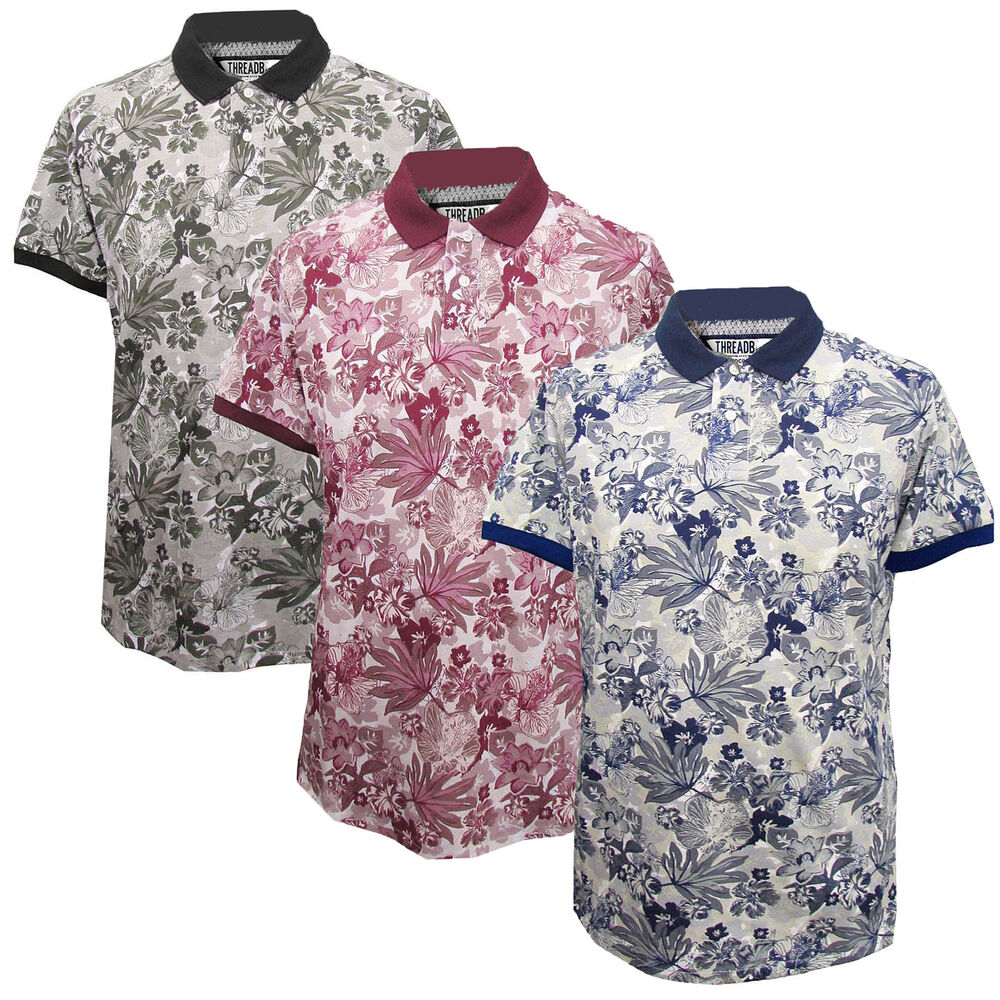 Mens floral polo t shirt threadbare new short sleeved for Floral mens t shirts