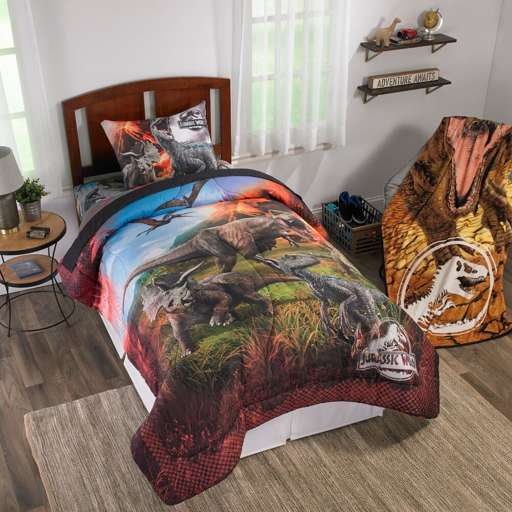 jurassic world dinosaurs bed in a bag comforter set 2 prints ebay