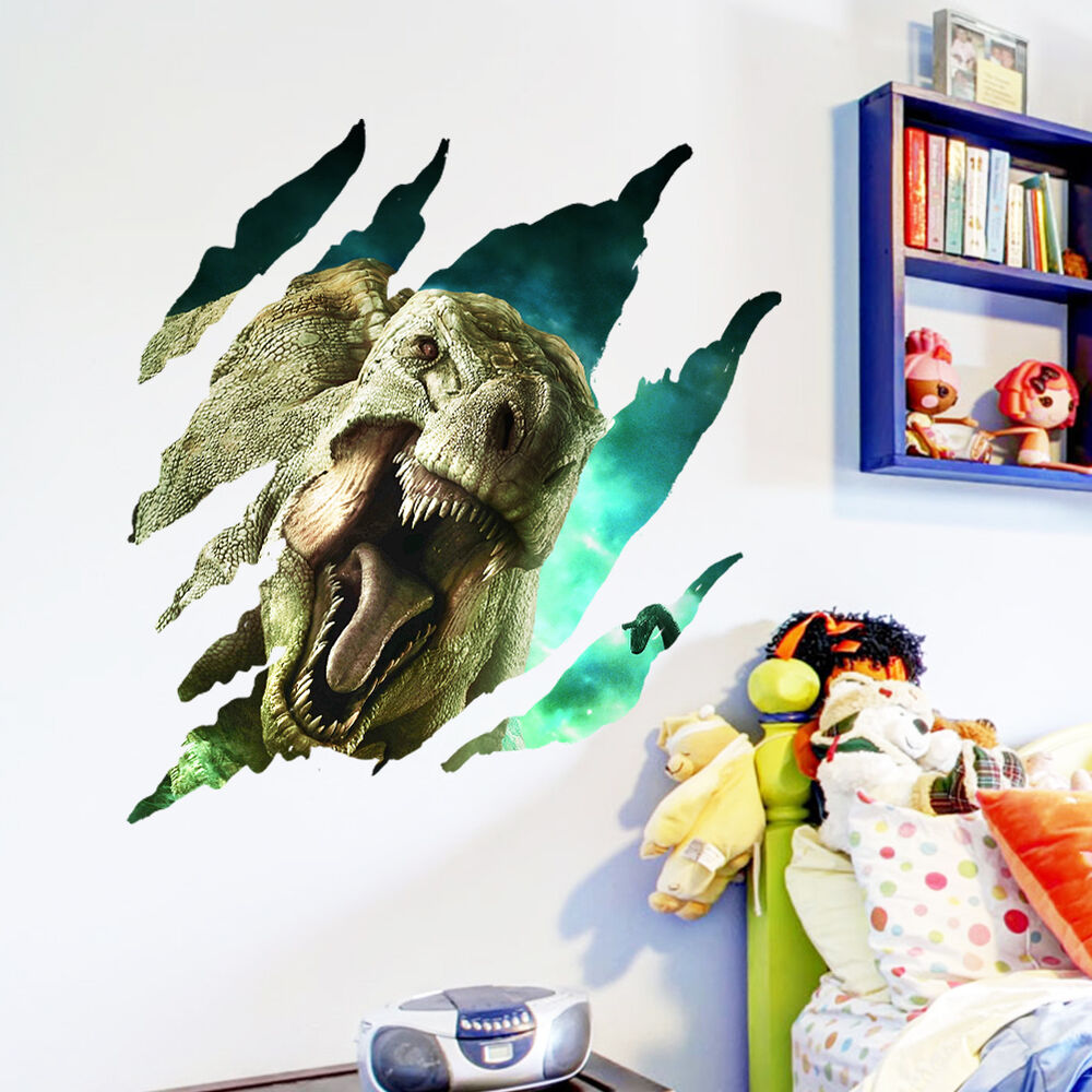 3d hole dinosaur kids room decor creative wall decals for Decor mural 3d