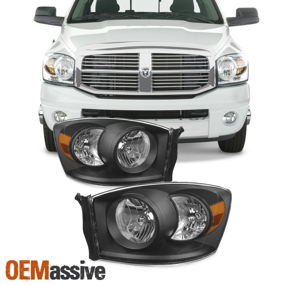 2006 2008 dodge ram 1500 06 09 2500 3500 black headlights. Black Bedroom Furniture Sets. Home Design Ideas