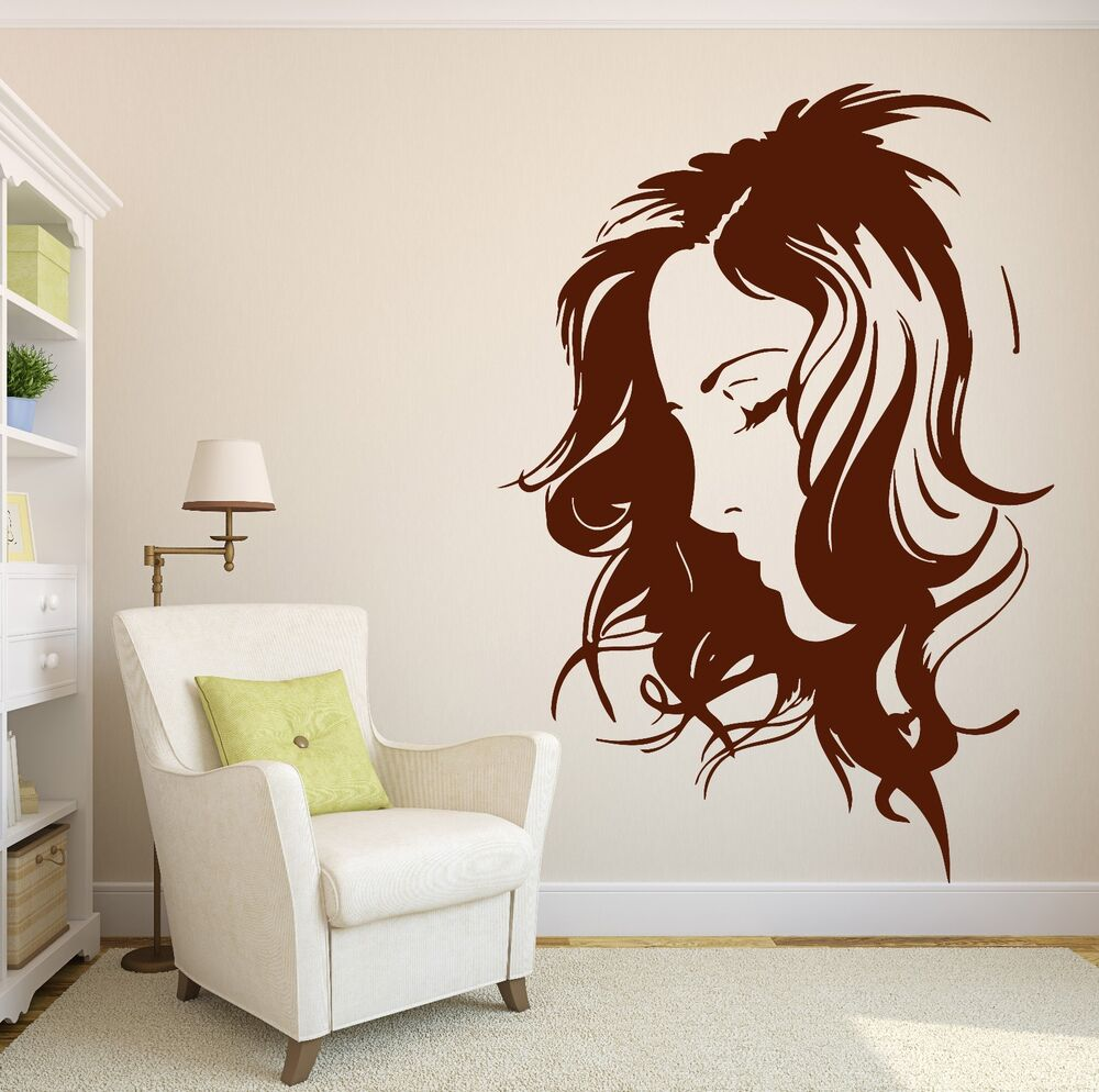 beauty salon decor wall sticker vinyl decal beautiful girl sexy hairstyle n196 ebay. Black Bedroom Furniture Sets. Home Design Ideas