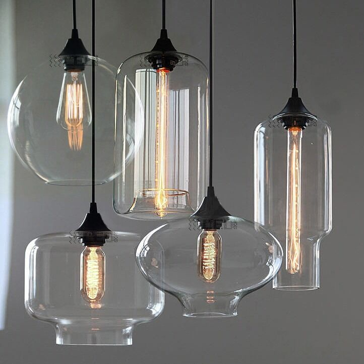 New modern retro glass pendant lamps kitchen bar cafe for 5 lamp kitchen light