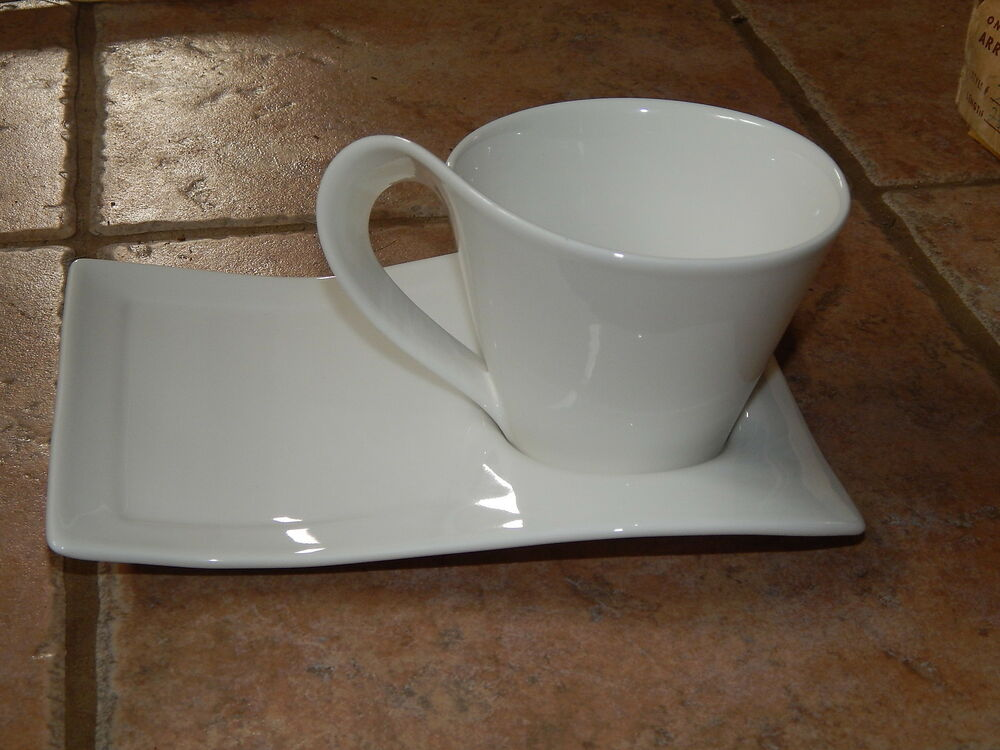 villeroy boch luxembourg white porcelain wave coffee mug plate 3 ebay. Black Bedroom Furniture Sets. Home Design Ideas