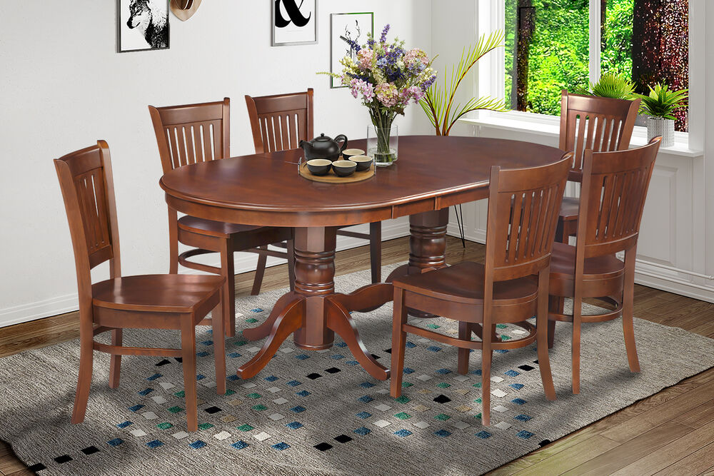 7 pc oval dinette kitchen dining room set 42 x78 table 6 chairs in espresso ebay. Black Bedroom Furniture Sets. Home Design Ideas