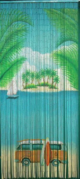 Natural Bamboo Beaded Curtain Vw Bus Surf Beads Window
