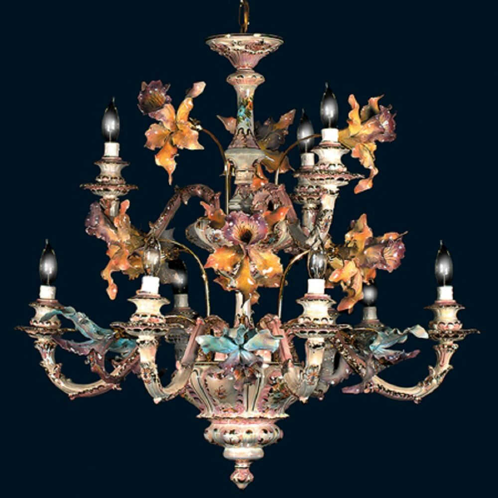 Capodimonte made in italy 9 light orchid chandelier mother of pearl finish new ebay - Lighting and chandeliers ...