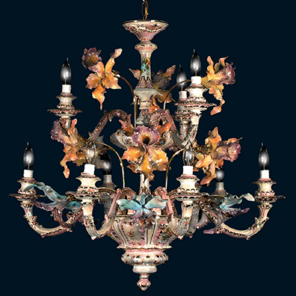 Capodimonte made in italy 9 light orchid chandelier mother of pearl finish new ebay - Lights and chandeliers ...