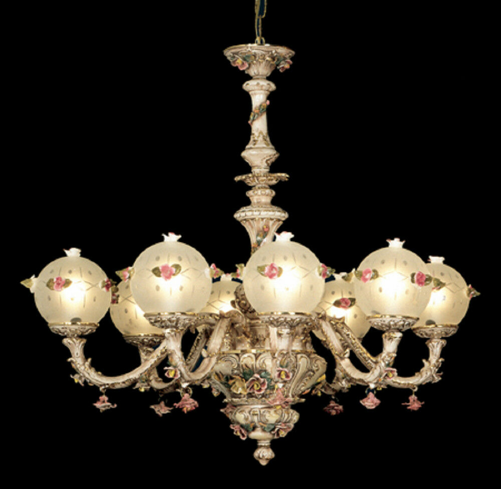 Capodimonte Made In Italy Chandelier 8 Lights Amp 8 Globes