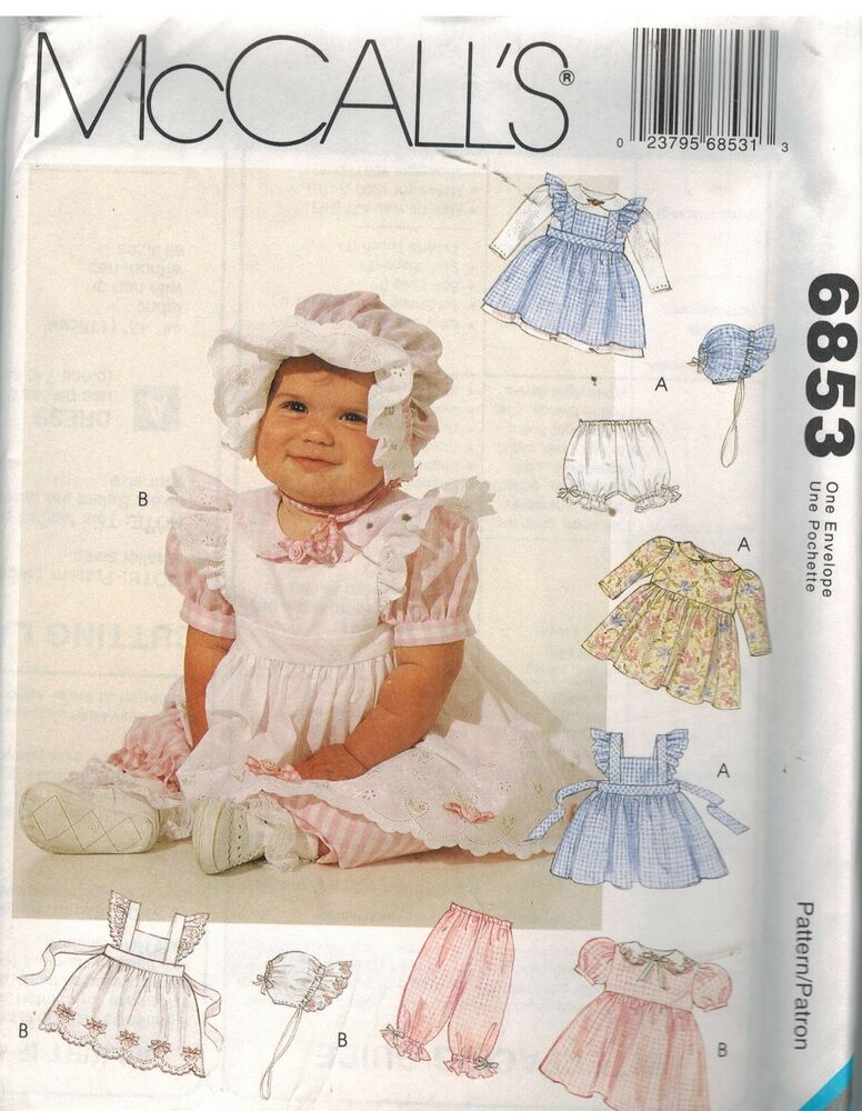 6853 Uncut Mccalls Sewing Pattern Infant Girls Pinafore