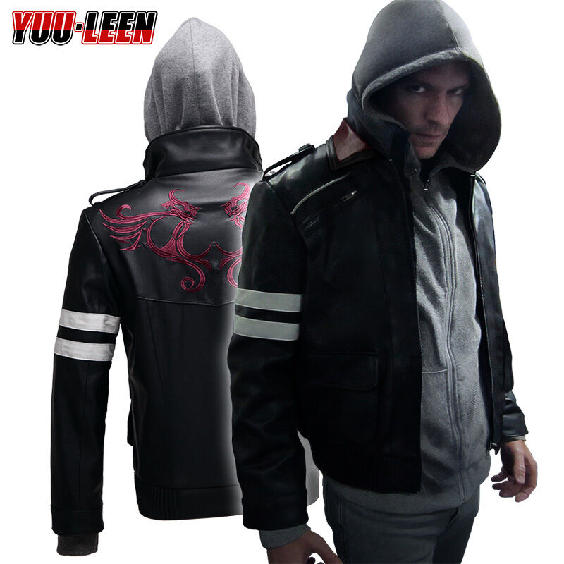 Prototype alex mercer jacket hoodie embroidered pu leather for How to make a prototype shirt