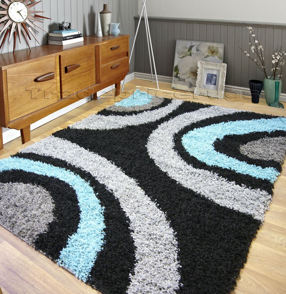 SMALL - EXTRA LARGE THICK PILE SHAGGY RUG AQUA TURQUOISE BLUE GREY SILVER BLACK : eBay