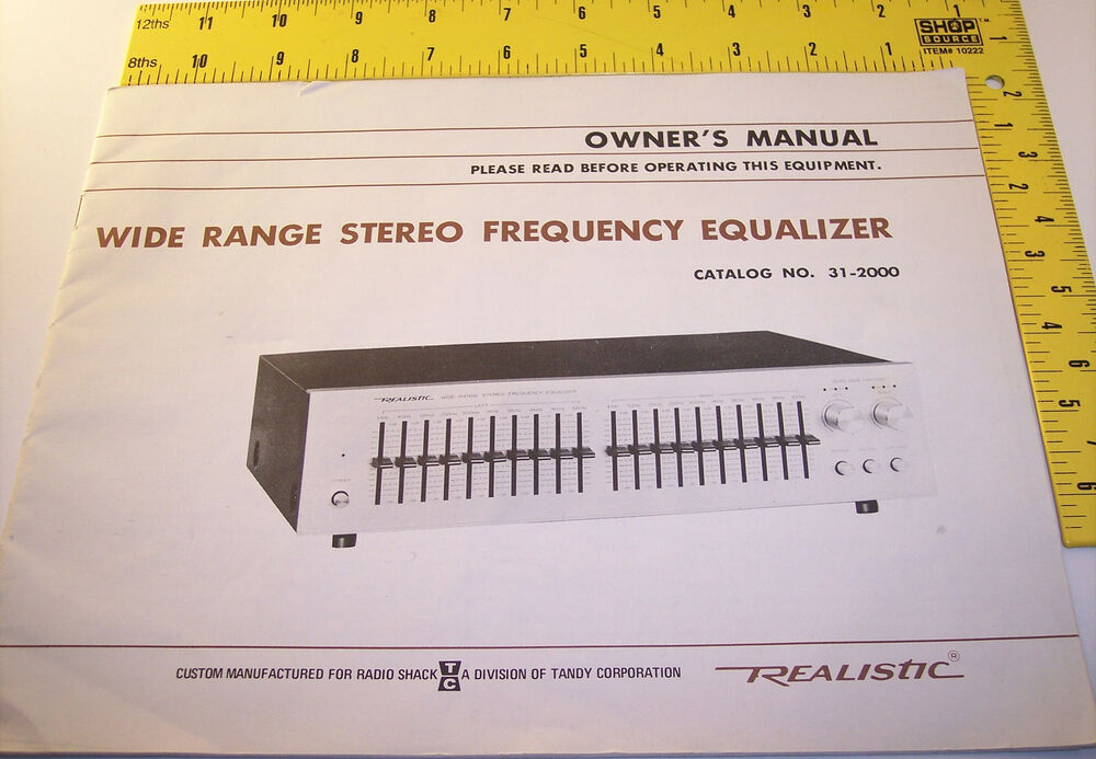 Vintage Realistic Owner S Manual Stereo Equalizer Tandy border=