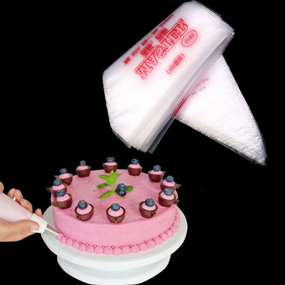 100 Plastic Disposable Icing Piping Pastry Bags Cake ...