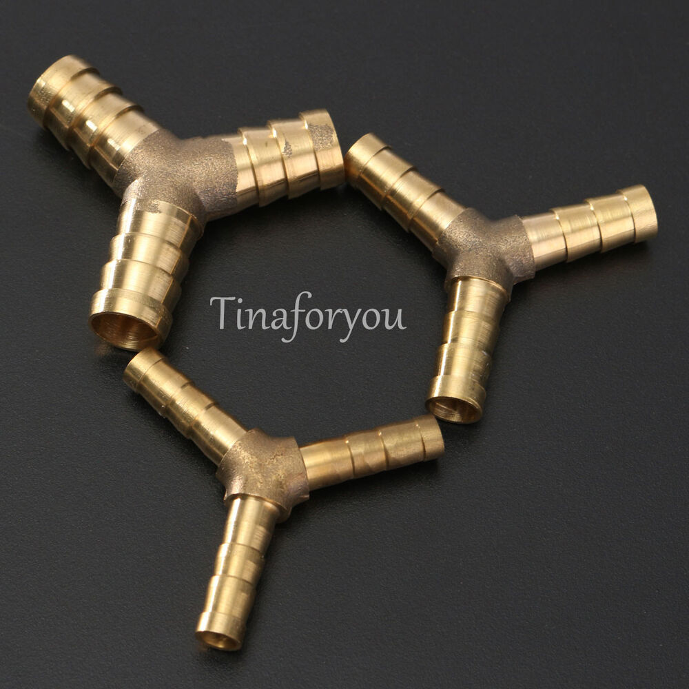 Y piece solid brass barbed connector pipe fitting air