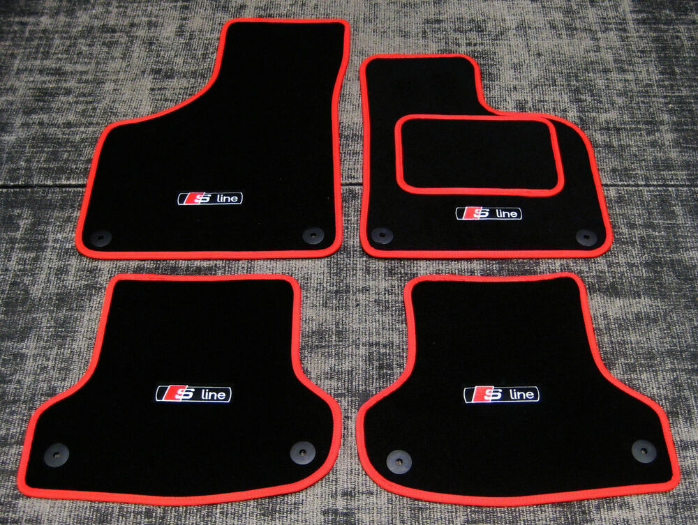 black red car mats to fit audi a4 b8 2008 2015 s line. Black Bedroom Furniture Sets. Home Design Ideas