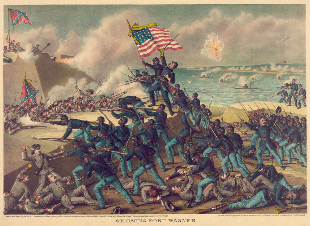 Civil War Prints And Drawings Storming Fort Wagner Fine