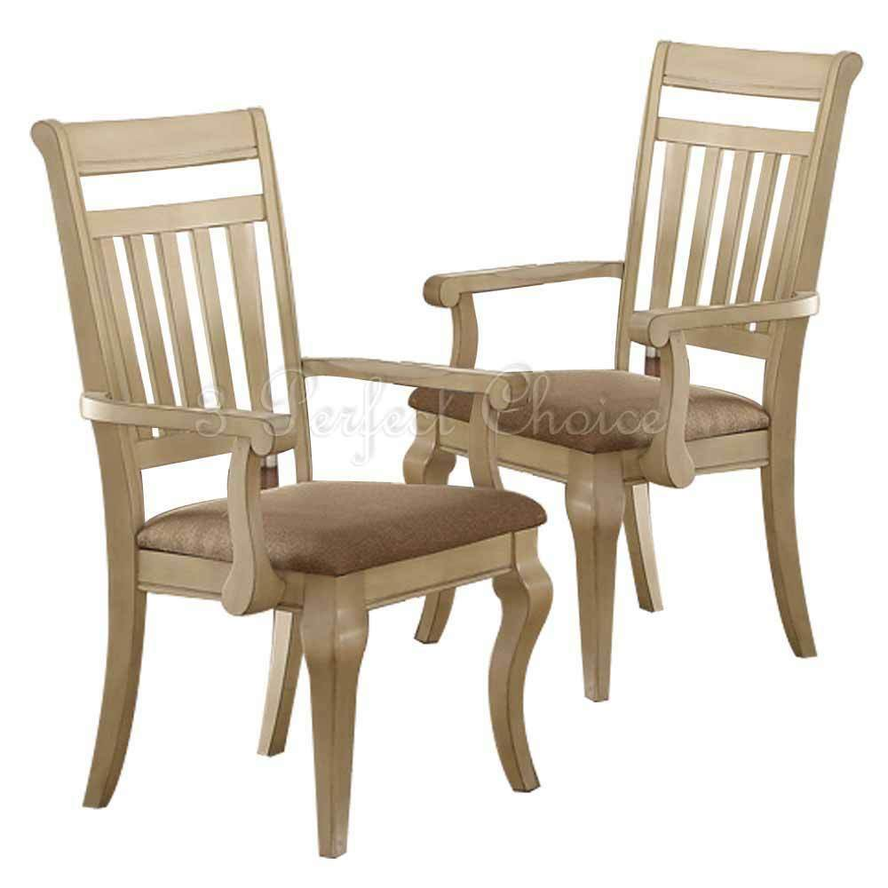 Set of 2 formal dining arm chairs medium wood trimmed for Wood dining room chairs with arms