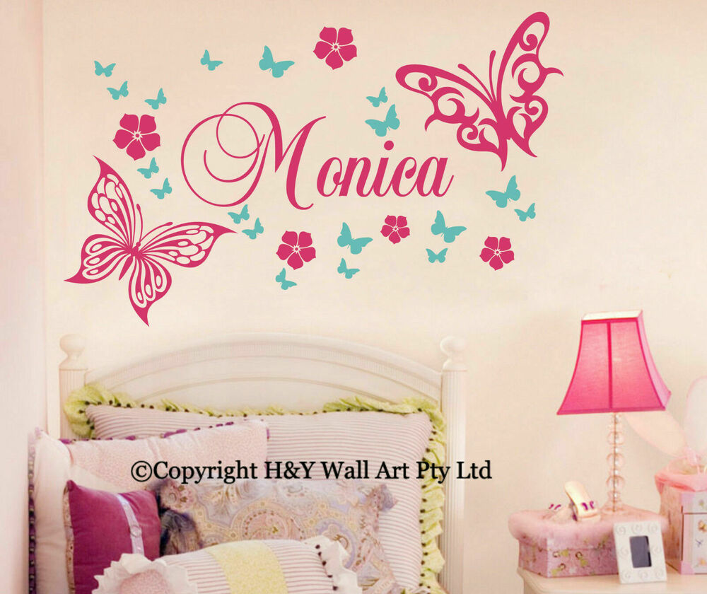 Butterfly flowers custom personalised name wall stickers kid girls nursery decor ebay - Wall decor girl nursery ...