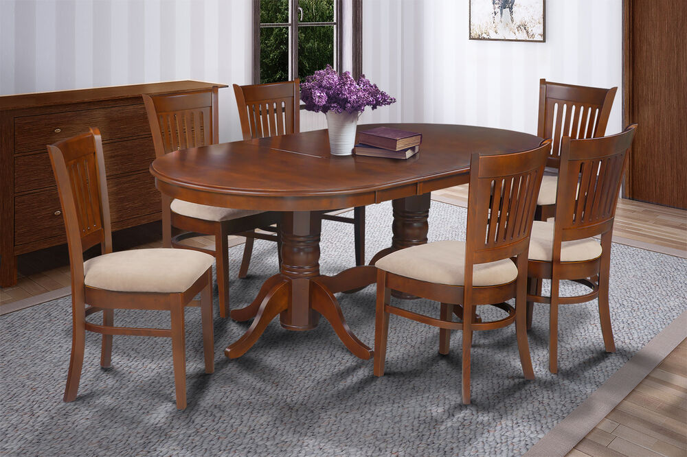 7 pc oval dinette kitchen dining room set 42 x78 table 6 padded seat chairs 192264439716 ebay. Black Bedroom Furniture Sets. Home Design Ideas