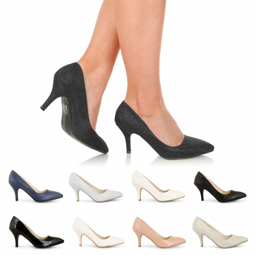 new womens low mid high stiletto heel work casual