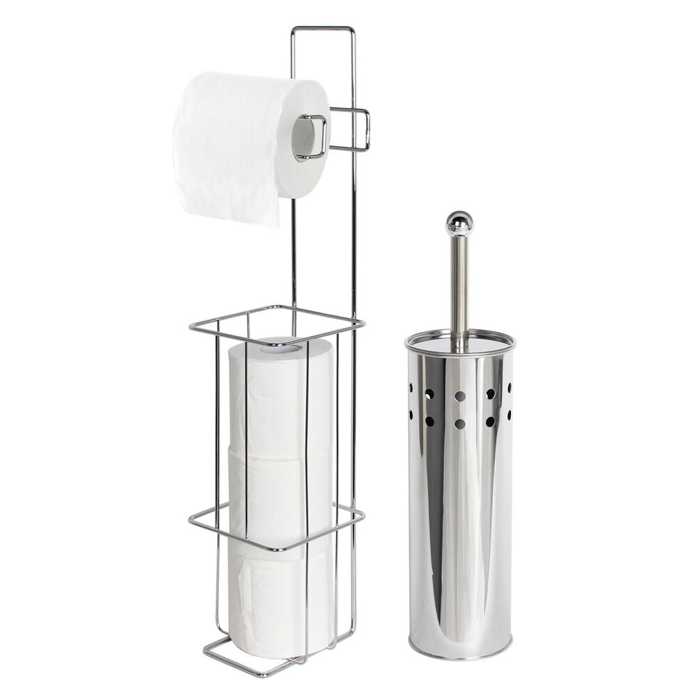 Free standing chrome toilet roll holder brush tissue Toilet paper holder free standing